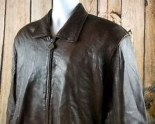 PELLE Group Genuine Soft Brown Leather Jacket Vintage Paisley Lining 70s/80s