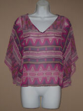 Forever 21 Womens Size Small Long 3/4 Sleeve Casual Fall Crop Blouse Top Shirt