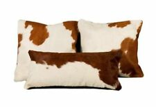 Cowhide Pillow Cover Cushion Cow Hide Hair on cover ( Set of 3 ) White and Brown