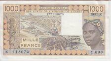 WEST AFRICAN STATES-SENEGAL P707Kc-8073,1000 FR 1981 SIG 1,7ALPHABET C.008 VF-EF