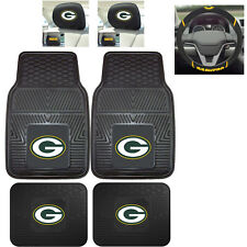 7pc NFL Green Bay Packers Heavy Duty Rubber Floor Mats & Steering Wheel Cover