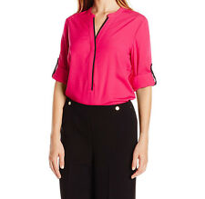 4258 Calvin Klein Womens Pink Roll tab Sleeve Half Button Down Shirt Medium M$70