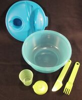 TUPPERWARE Healthy Salad on the Go Lunch Set Bowl Lid Midget Fork Knife Azure