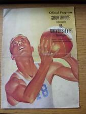 07/01/1949 Basket-Ball Programme: en Amérique, Shortridge Indianapolis V Universit