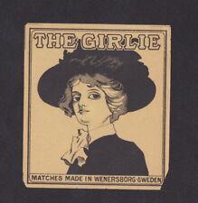 Ancienne  étiquette paquet  allumette Suède BN80029 The Girlie Femme