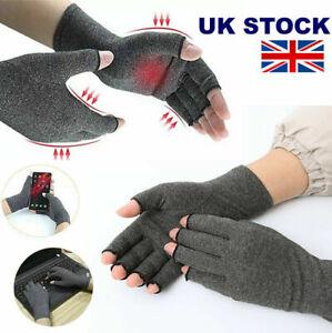 Anti Arthritis Compression Gloves Copper Fingerless Pain Support Brand New UK