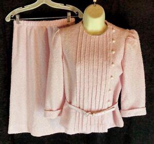 Vintage Leslie Fay suit 2 pc set sz 8P Jacket Elastic Waist Skirt Pale Pink