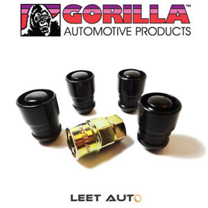 Gorilla Guard Wheel Locks, 14mm x 1.50, Bulge Acorn Seat, Black, 14x1.5 61641BC