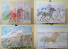 4 Paintings Equestrian Vintage With Horse Painted Technical Of Frost Years 80