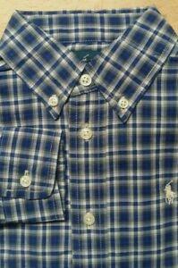 Boys Ralph Lauren Shirt size 6 years 6-7 Navy cream Check Small Pony LS New