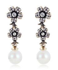 1pair Wholesale White Crystal Rhinestone Ear Drop Dangle Stud long Earrings 32