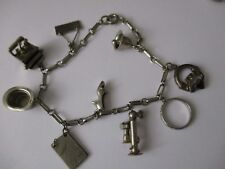 Vintage Silver tone charm bracelet Type writer top hat 7.5 inches