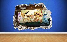 Pokemon Go #2 3D Style smashed wall sticker kids childrens bedroom vinyl boys