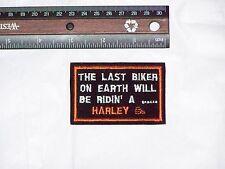 Small HARLEY DAVIDSON Motorcycles LAST BIKER ON EARTH jacket vest hat cap Patch