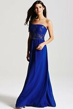 BNWT LITTLE MISTRESS BLUE BANDEAU EMBROIDERED MAXI DRESS SIZE 12  RRP £68