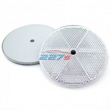 2x White Circular Reflectors with Centre Hole, 76mm- trailer caravan gatepost