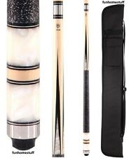 NEW MCDERMOTT STAR S25 WHITE PEARL BILLIARD TWO PIECE POOL CUE STICK + SOFT CASE