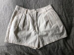New! FRAME Cream Pleat linen Shorts Sz 4