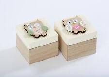 Set 2 Small Owl Square Natural Wood Jewellery Trinket Storage Box Childrens Gift