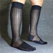lemo 3 Pack Men's 100%25 Nylon Black Sexy Knee High Long Sheer Socks YF128