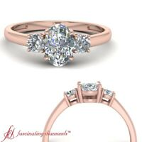 Three Stone Rose Gold Diamond Engagement Ring With Oval Shape In Center 0.75 Ctw