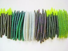 """60 pk 5"""" Senko style Soft Plastic Bass Worms - 6 Colors/10 Each BRIGHT MULTIPACK"""