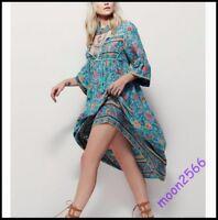 Women's Casual Vogue Ethnic Chic Loose Beach Irregular Long Dress Floral BOHO
