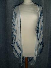 Blue & White Long Boho Cardigan Size S