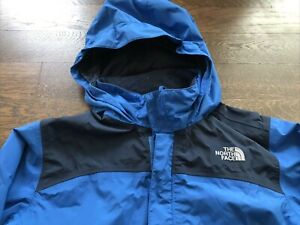 North Face Youth Large Hyvent Hooded Wind Rain Jacket Coat Blue