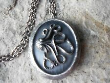 UNIQUE OCTOPUS ANTIQUED SILVER PLATED LOCKET - SQUID - OCEAN -GOTH, GOTHIC, PUNK