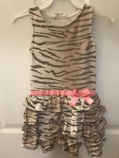 H&M Khaki Beige Color Zebra Print Preowned Dress Size 4/6