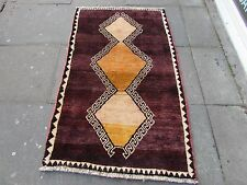 Old Traditional Hand Made Persian Oriental Gabbeh Rug Wool Brown Gold 160x100cm