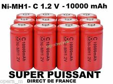 Lot de 4 Piles C R14 LR14 10000mAh Rechargeable 1.2V Ni-Mh Accu DIRECT DE FRANCE