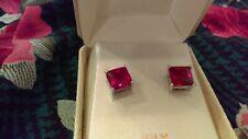 Earrings Ruby CZ Studs Square Princess Setting - July Birthstone