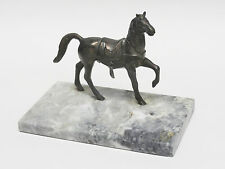 LARGE VINTAGE BRONZE HORSE EQUESTRIAN WITH MARBLE BASE ASHTRAY