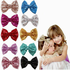 Trendy Kids Girls Baby Glitter Shiny Sequin Bowknot Hair Clip Hair Bow Hairpin