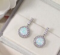 Vintage Jewellery Gold Earrings with Opals White Sapphires Antique Deco Jewelry