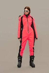 Topshop Pink Ski Suit Fur Hood UK8 EUR36 US4