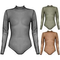 New Mesh High Neck Long Sleeve Bodysuit Bodycon Stretch Polo Sheer Leotard Top