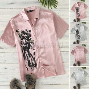Men Short Sleeve Retro Silky Satin Floral Dress Shirt Top Casual Beach Party Top