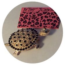 W/ Rhinestones Decorating Shell & Eyes Move Along Turtle Brooch By Betsy Johnson