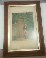 "Vintage ARTS & CRAFTS Oak Picture Frame with ""An April Fool"" PAINTING"
