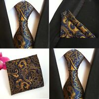 Men Blue Yellow Paisley Floral Silk Necktie Pocket Square Handkerchief Lot HZ080