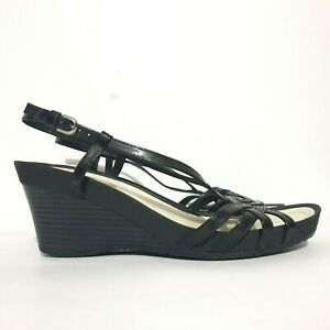 Geox Wedges Sz 39.5 Black Strappy Sandals Pumps High Heel Comfort Heel Strap