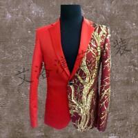 Mens sequins nightclub one button slim fit Jackets suit show coat blazers plus s