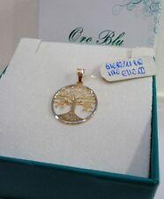 CIONDOLO PENDANT TONDO 1.50 cm ALBERO DELLA VITA ORO GIALLO BIANCO 18 KT 750