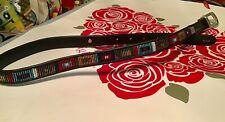 "Brighton MultiColor Beaded 3/4"" Leather Belt Black Sz 28 Q3501 Silver Buckle NEW"
