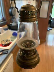 Vintage Brass Skaters Lantern With Triangle Shape Globe Late 1800s