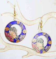 Elegant Cobalt Genuine Cloisonne Enamel Butterfly Earrings 1970s vintage