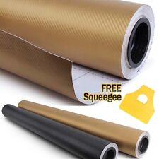 """60"""" x 60"""" GOLD Carbon Fiber Vinyl Wrap 3D Bubble Free Air Release 5ft x 5ft"""